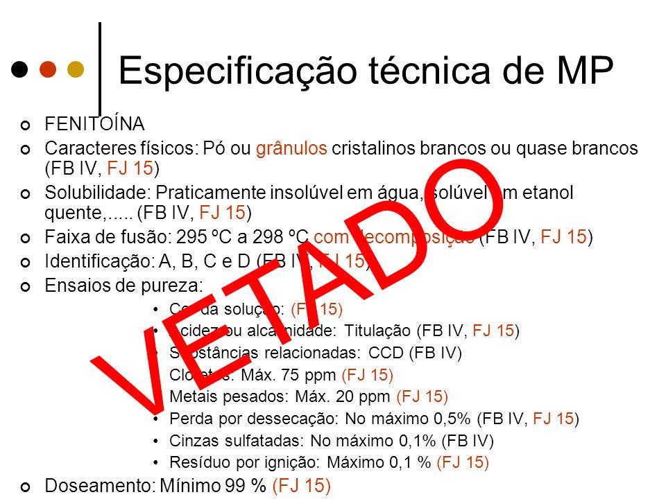 Especificação técnica de MP FENITOÍNA Caracteres físicos: Pó ou grânulos cristalinos brancos ou quase brancos (FB IV, FJ 15) Solubilidade: Praticament