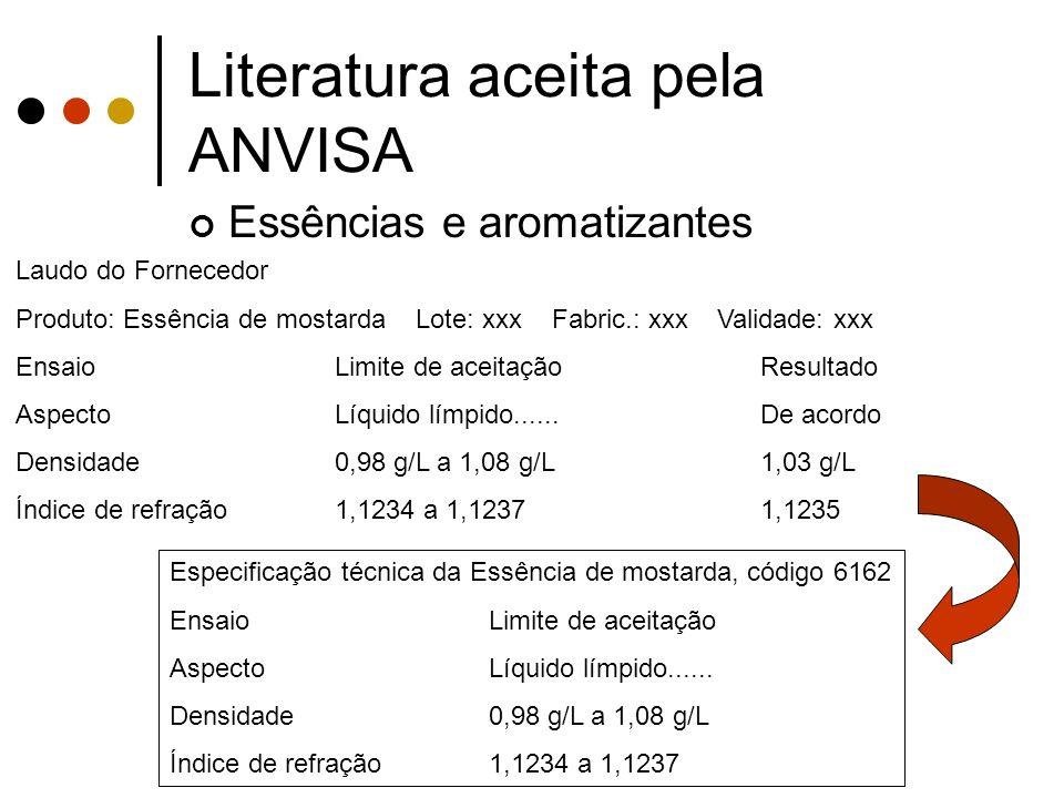 Literatura aceita pela ANVISA Essências e aromatizantes Laudo do Fornecedor Produto: Essência de mostarda Lote: xxx Fabric.: xxx Validade: xxx EnsaioL