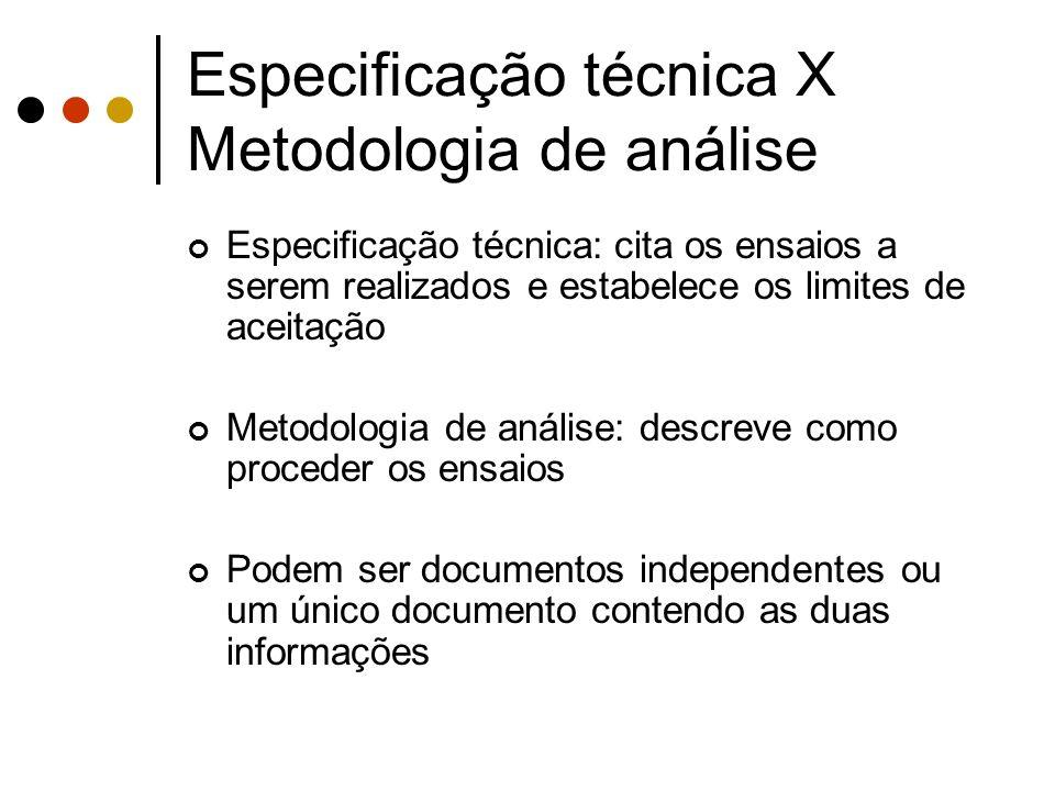 Especificação técnica X Metodologia de análise Especificação técnica: cita os ensaios a serem realizados e estabelece os limites de aceitação Metodolo
