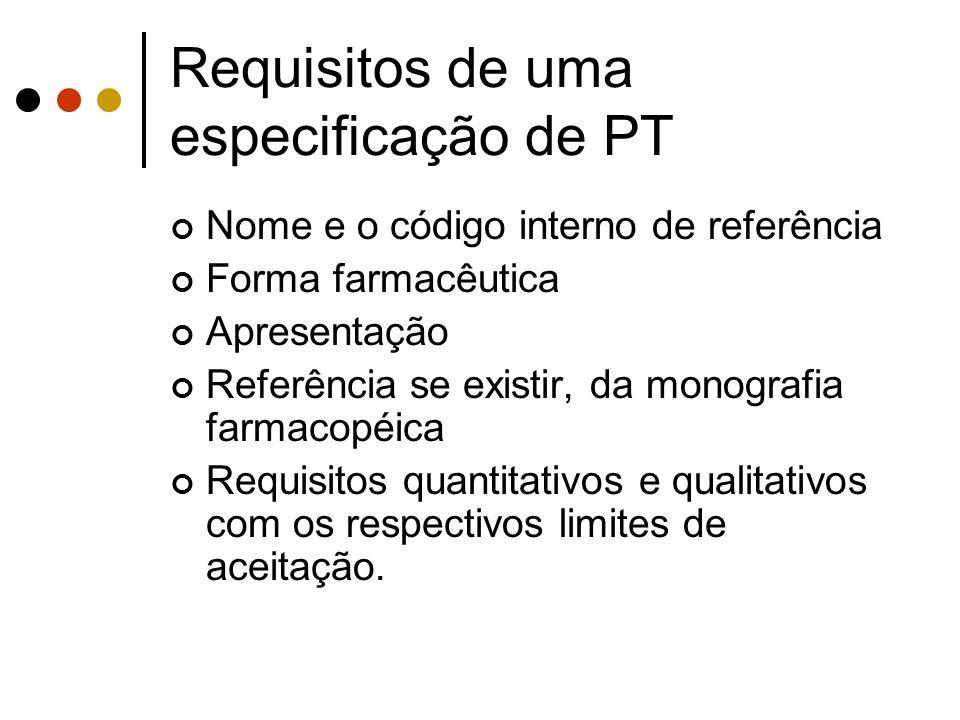 Requisitos de uma especificação de PT Nome e o código interno de referência Forma farmacêutica Apresentação Referência se existir, da monografia farma