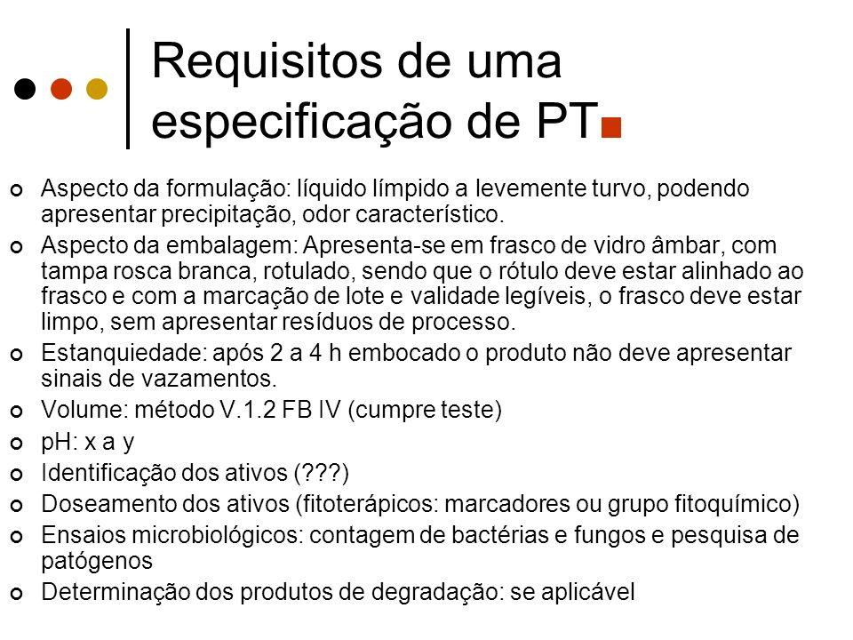 Requisitos de uma especificação de PT Aspecto da formulação: líquido límpido a levemente turvo, podendo apresentar precipitação, odor característico.