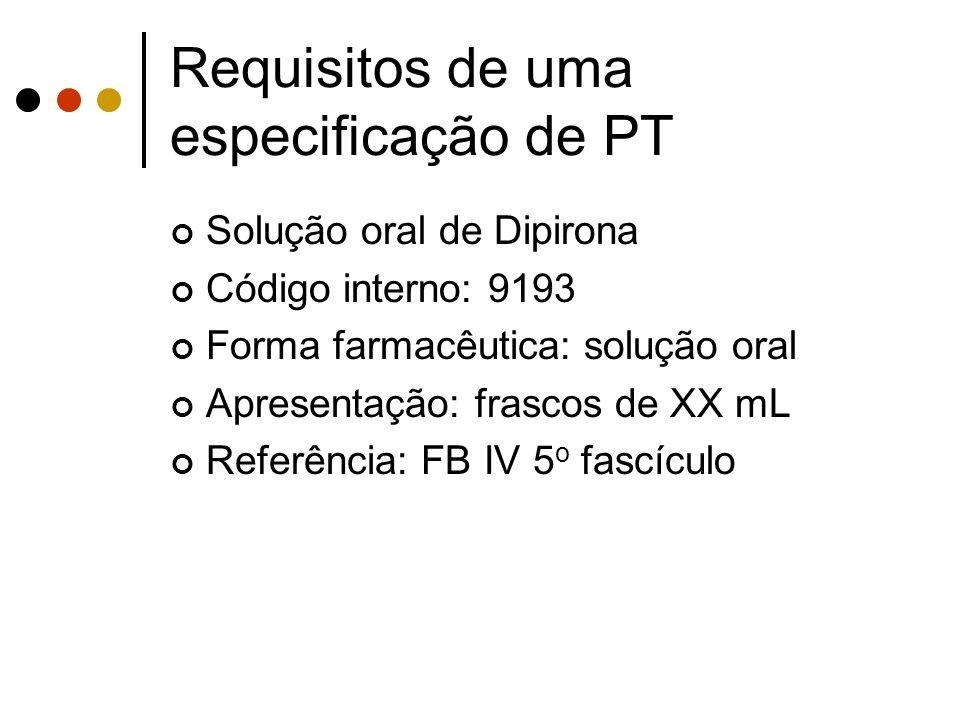 Solução oral de Dipirona Código interno: 9193 Forma farmacêutica: solução oral Apresentação: frascos de XX mL Referência: FB IV 5 o fascículo Requisit