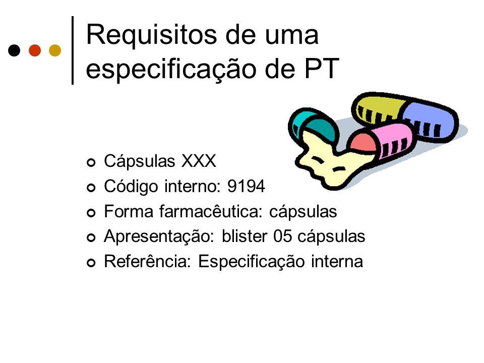 Cápsulas XXX Código interno: 9194 Forma farmacêutica: cápsulas Apresentação: blister 05 cápsulas Referência: Especificação interna