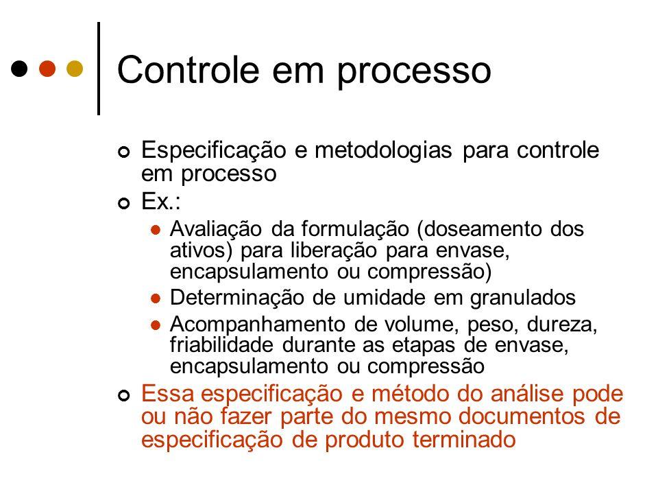 Especificação e metodologias para controle em processo Ex.: Avaliação da formulação (doseamento dos ativos) para liberação para envase, encapsulamento
