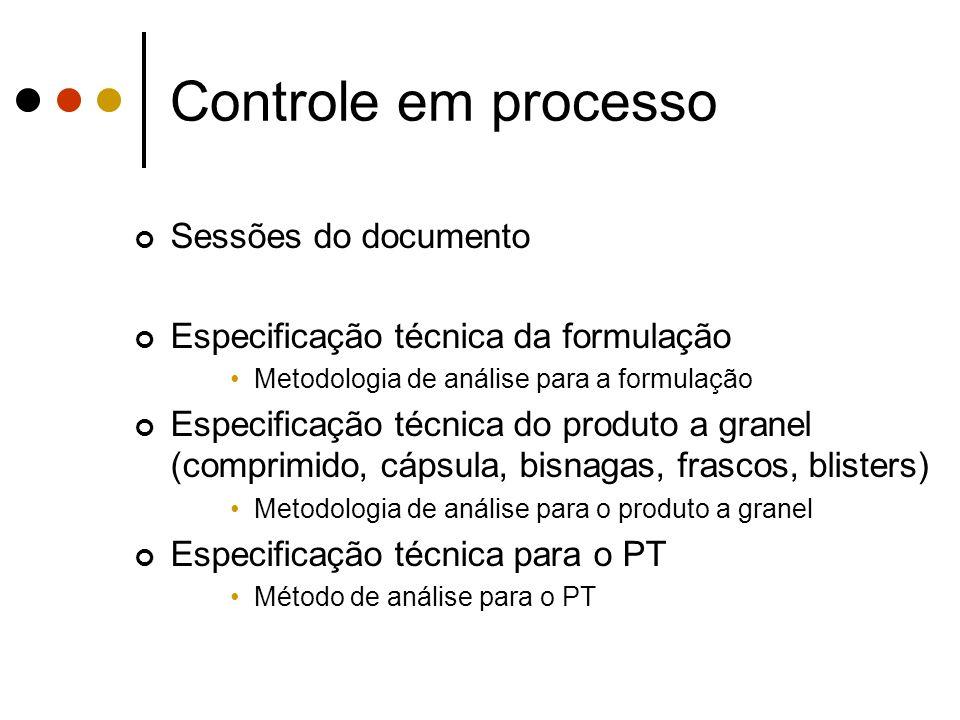 Sessões do documento Especificação técnica da formulação Metodologia de análise para a formulação Especificação técnica do produto a granel (comprimid