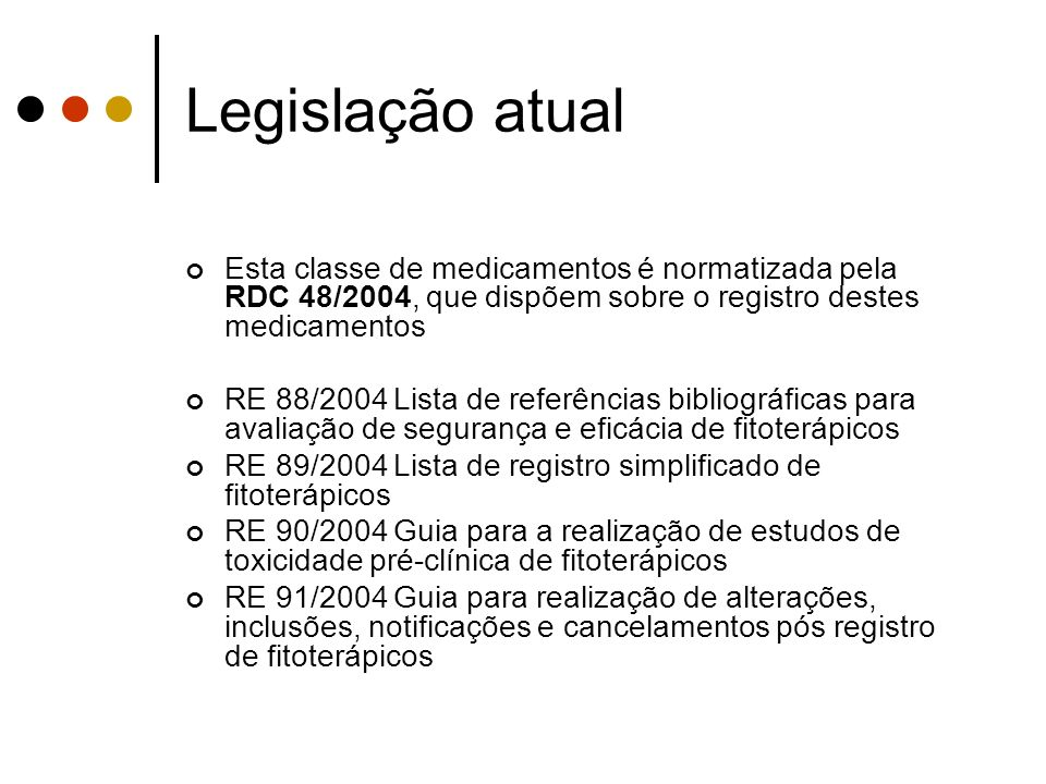 Esta classe de medicamentos é normatizada pela RDC 48/2004, que dispõem sobre o registro destes medicamentos RE 88/2004 Lista de referências bibliográ