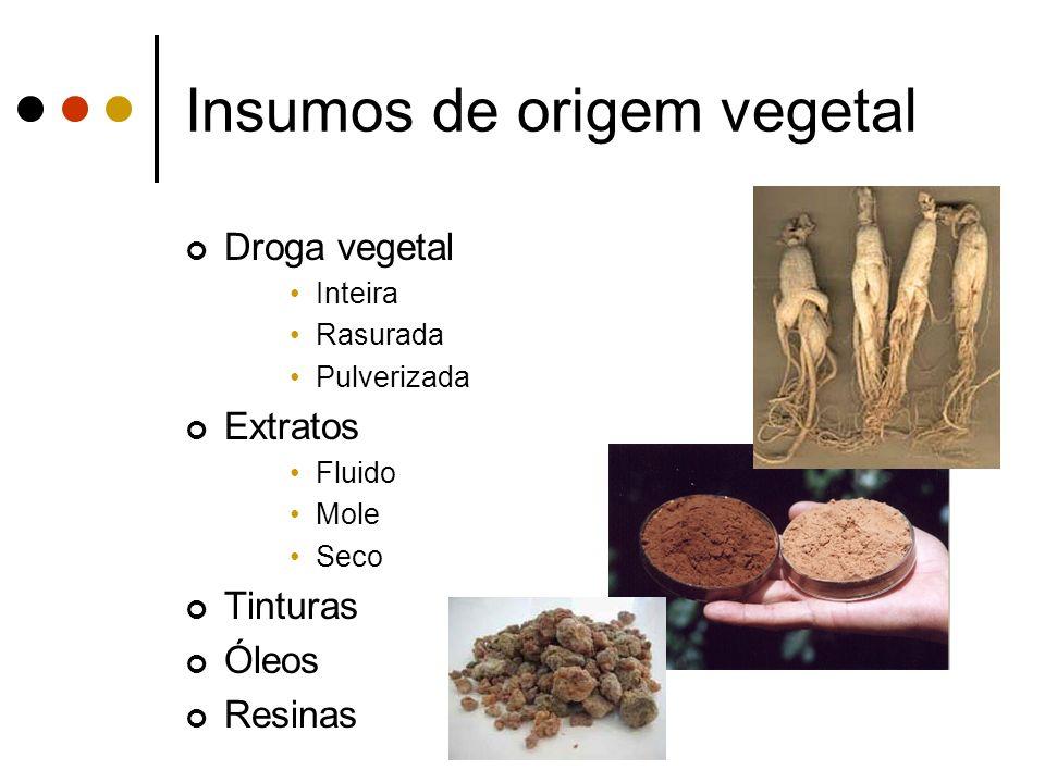 Insumos de origem vegetal Droga vegetal Inteira Rasurada Pulverizada Extratos Fluido Mole Seco Tinturas Óleos Resinas
