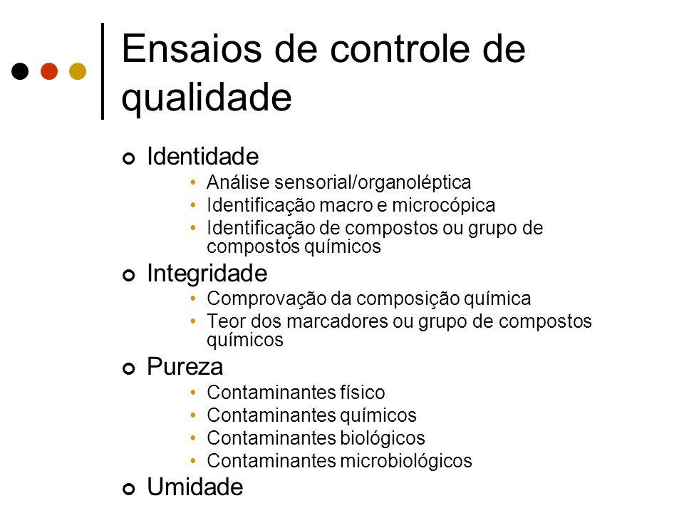 Ensaios de controle de qualidade Identidade Análise sensorial/organoléptica Identificação macro e microcópica Identificação de compostos ou grupo de c