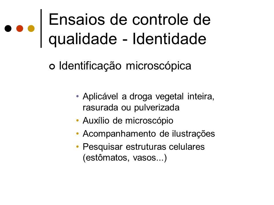 Identificação microscópica Aplicável a droga vegetal inteira, rasurada ou pulverizada Auxílio de microscópio Acompanhamento de ilustrações Pesquisar e