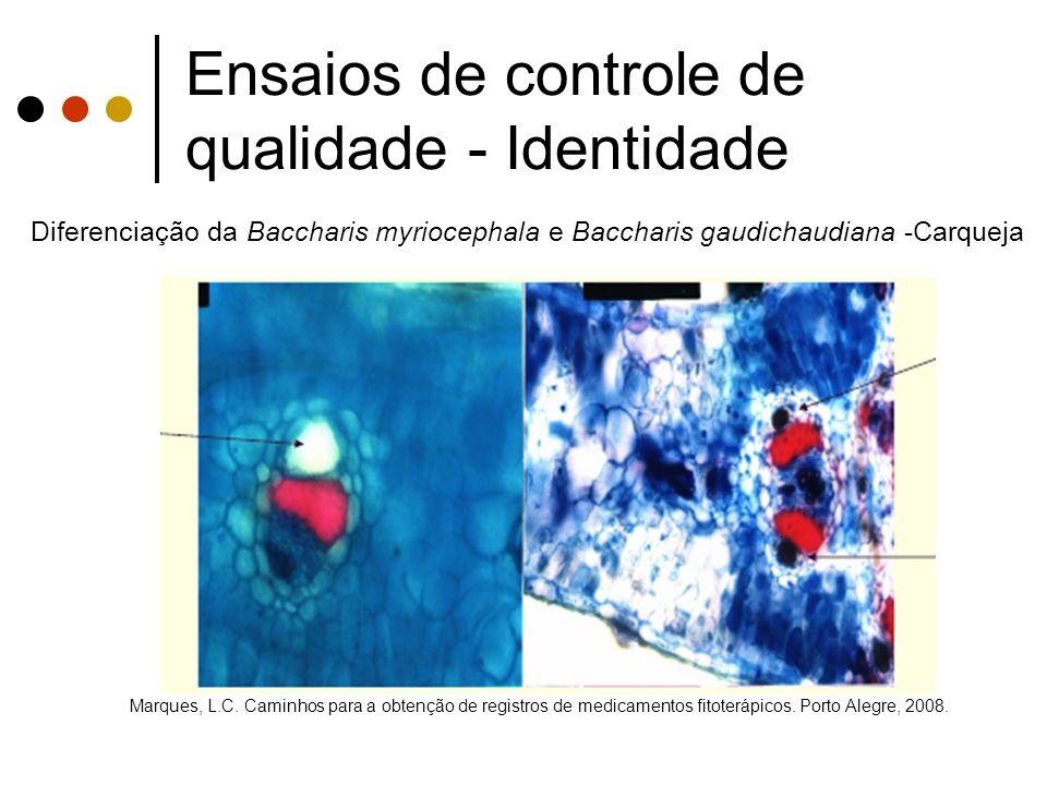 Ensaios de controle de qualidade - Identidade Marques, L.C. Caminhos para a obtenção de registros de medicamentos fitoterápicos. Porto Alegre, 2008. D