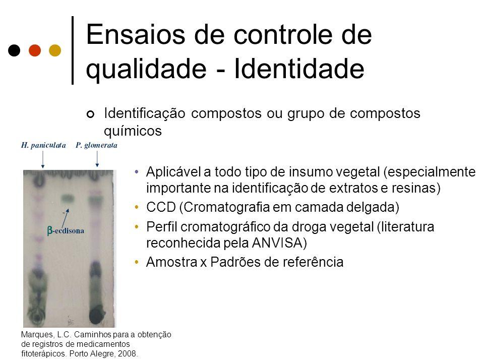 Ensaios de controle de qualidade - Identidade Identificação compostos ou grupo de compostos químicos Aplicável a todo tipo de insumo vegetal (especial