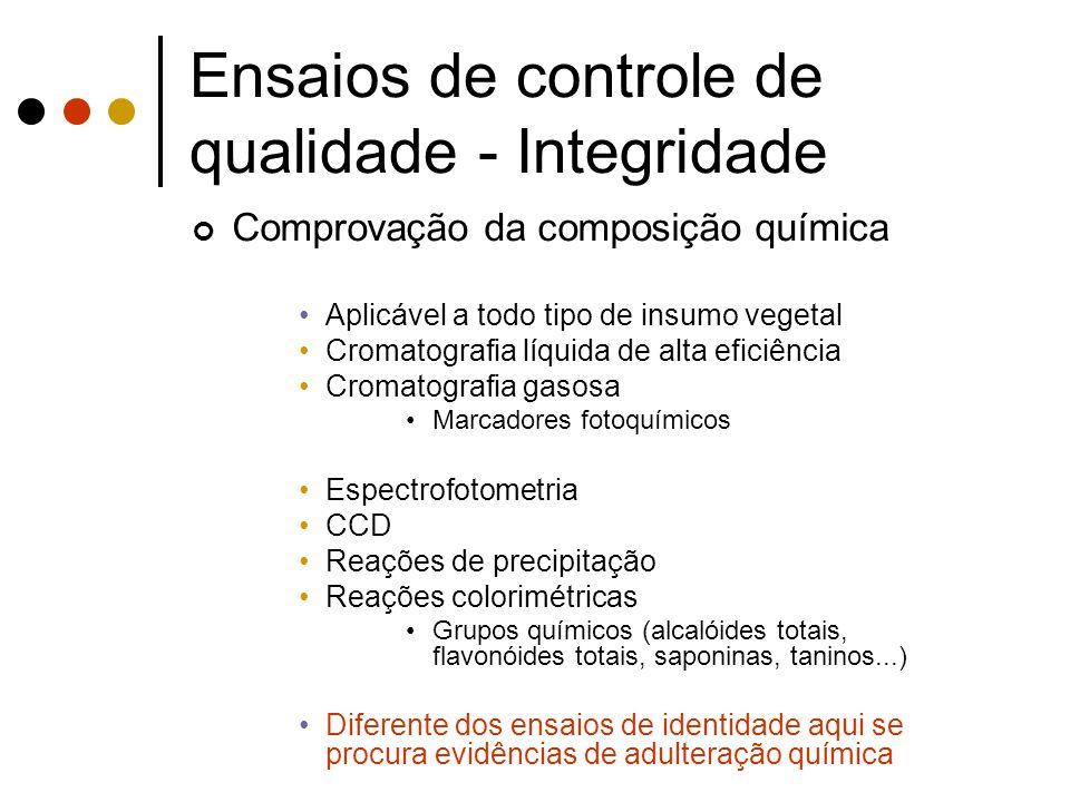 Ensaios de controle de qualidade - Integridade Comprovação da composição química Aplicável a todo tipo de insumo vegetal Cromatografia líquida de alta