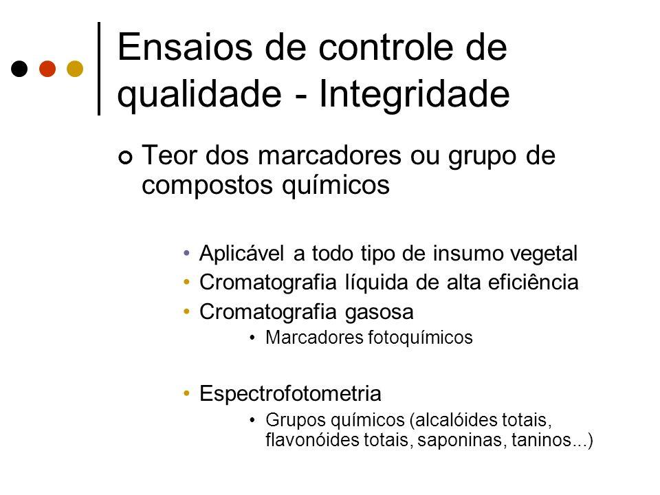Ensaios de controle de qualidade - Integridade Teor dos marcadores ou grupo de compostos químicos Aplicável a todo tipo de insumo vegetal Cromatografi