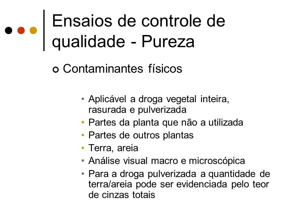 Contaminantes físicos Aplicável a droga vegetal inteira, rasurada e pulverizada Partes da planta que não a utilizada Partes de outros plantas Terra, a