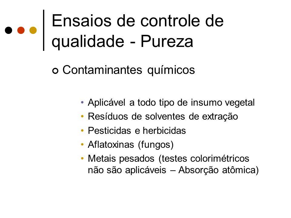 Contaminantes químicos Aplicável a todo tipo de insumo vegetal Resíduos de solventes de extração Pesticidas e herbicidas Aflatoxinas (fungos) Metais p