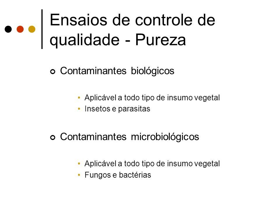 Contaminantes biológicos Aplicável a todo tipo de insumo vegetal Insetos e parasitas Contaminantes microbiológicos Aplicável a todo tipo de insumo veg