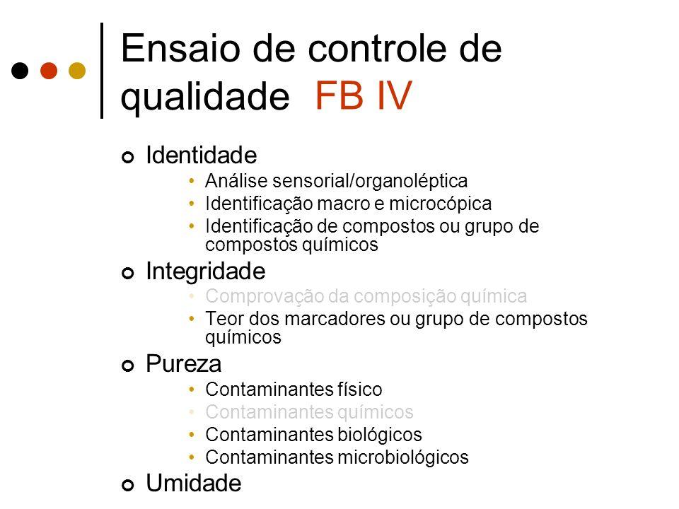 Ensaio de controle de qualidade Identidade Análise sensorial/organoléptica Identificação macro e microcópica Identificação de compostos ou grupo de co