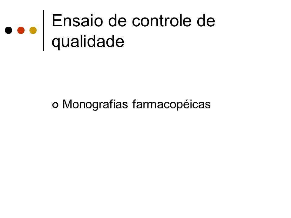 Monografias farmacopéicas Ensaio de controle de qualidade