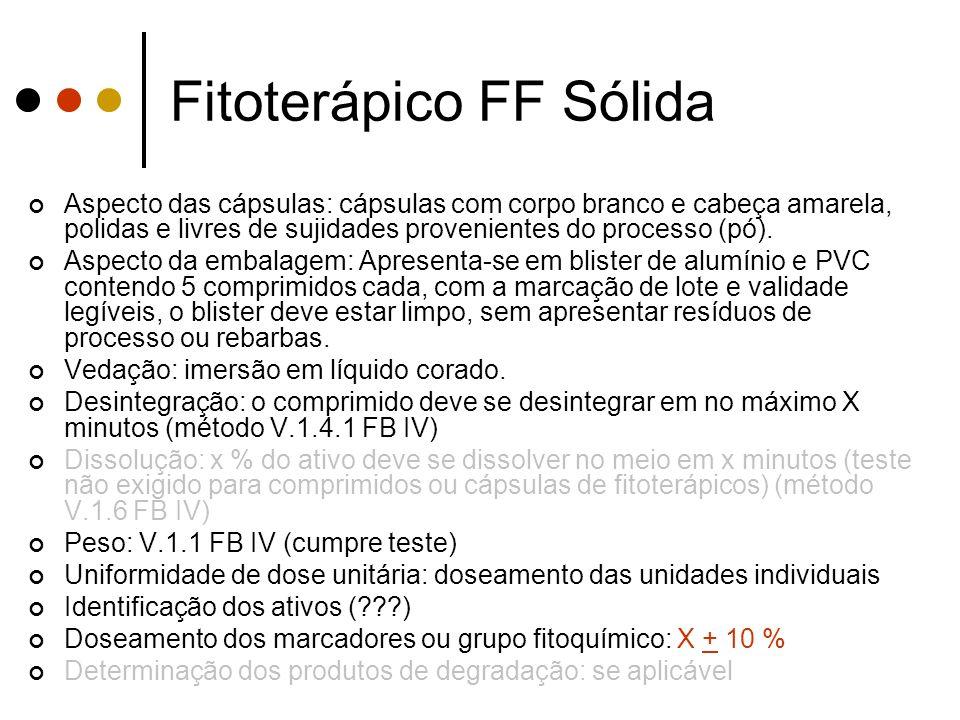 Fitoterápico FF Sólida Aspecto das cápsulas: cápsulas com corpo branco e cabeça amarela, polidas e livres de sujidades provenientes do processo (pó).