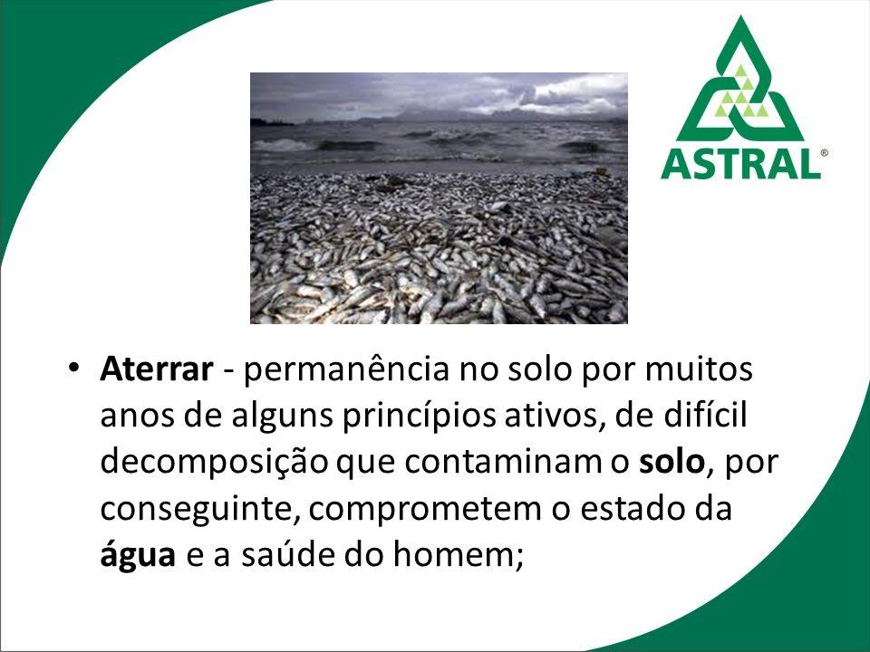 Aterrar - permanência no solo por muitos anos de alguns princípios ativos, de difícil decomposição que contaminam o solo, por conseguinte, comprometem
