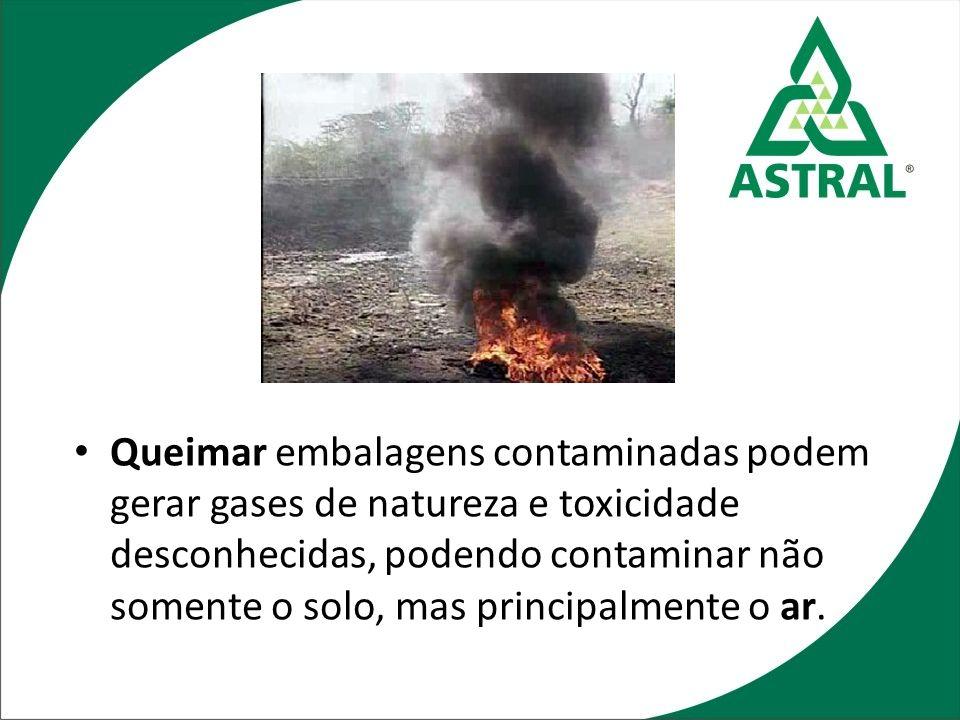 Queimar embalagens contaminadas podem gerar gases de natureza e toxicidade desconhecidas, podendo contaminar não somente o solo, mas principalmente o