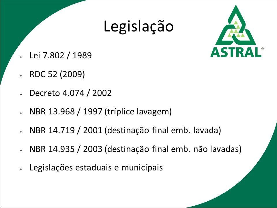 Legislação Lei 7.802 / 1989 RDC 52 (2009) Decreto 4.074 / 2002 NBR 13.968 / 1997 (tríplice lavagem) NBR 14.719 / 2001 (destinação final emb. lavada) N