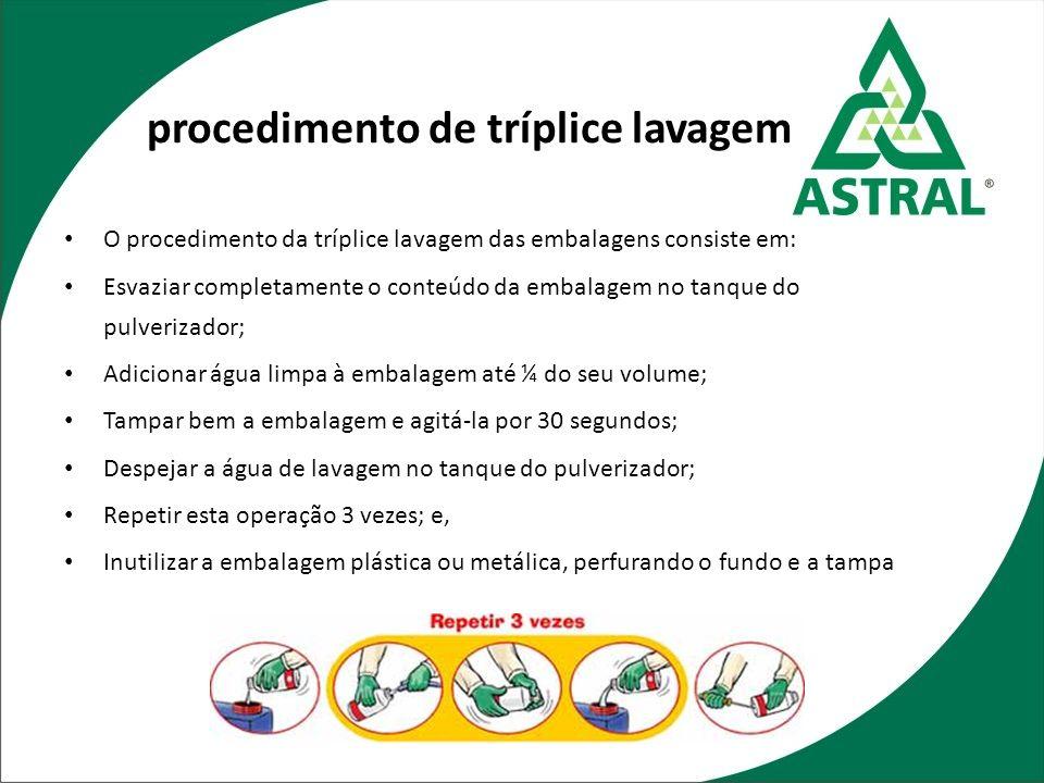 procedimento de tríplice lavagem O procedimento da tríplice lavagem das embalagens consiste em: Esvaziar completamente o conteúdo da embalagem no tanq