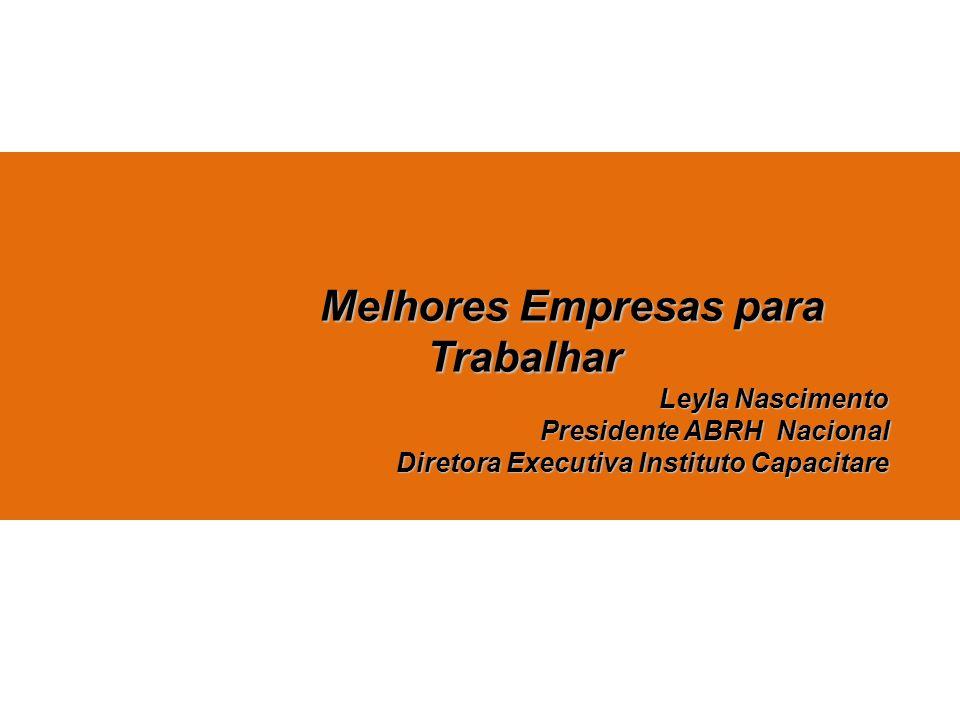 Melhores Empresas para Trabalhar Leyla Nascimento Presidente ABRH Nacional Diretora Executiva Instituto Capacitare