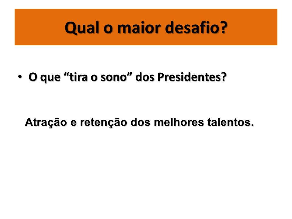 Qual o maior desafio? O que tira o sono dos Presidentes? O que tira o sono dos Presidentes? Atração e retenção dos melhores talentos.