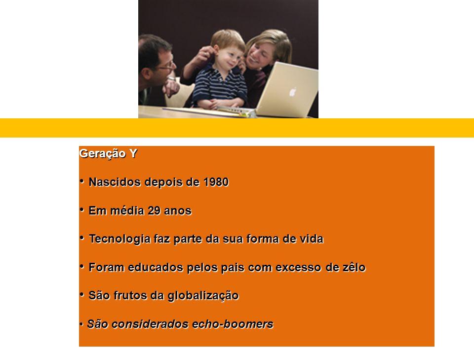 Geração Y Nascidos depois de 1980 Nascidos depois de 1980 Em média 29 anos Em média 29 anos Tecnologia faz parte da sua forma de vida Tecnologia faz p