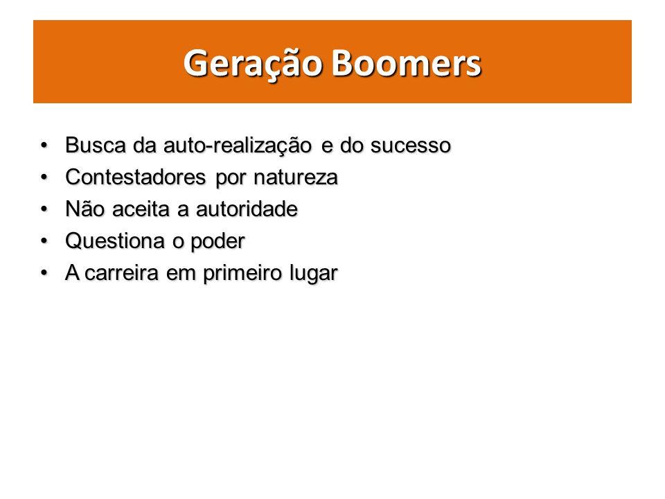 Geração Boomers Busca da auto-realização e do sucessoBusca da auto-realização e do sucesso Contestadores por naturezaContestadores por natureza Não ac