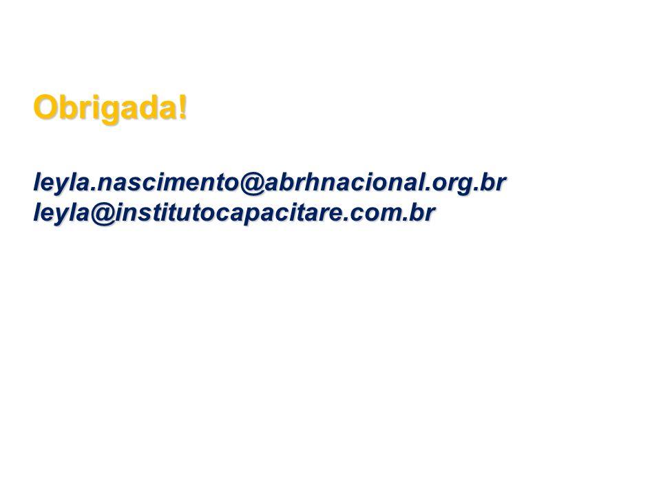 Obrigada!leyla.nascimento@abrhnacional.org.brleyla@institutocapacitare.com.br