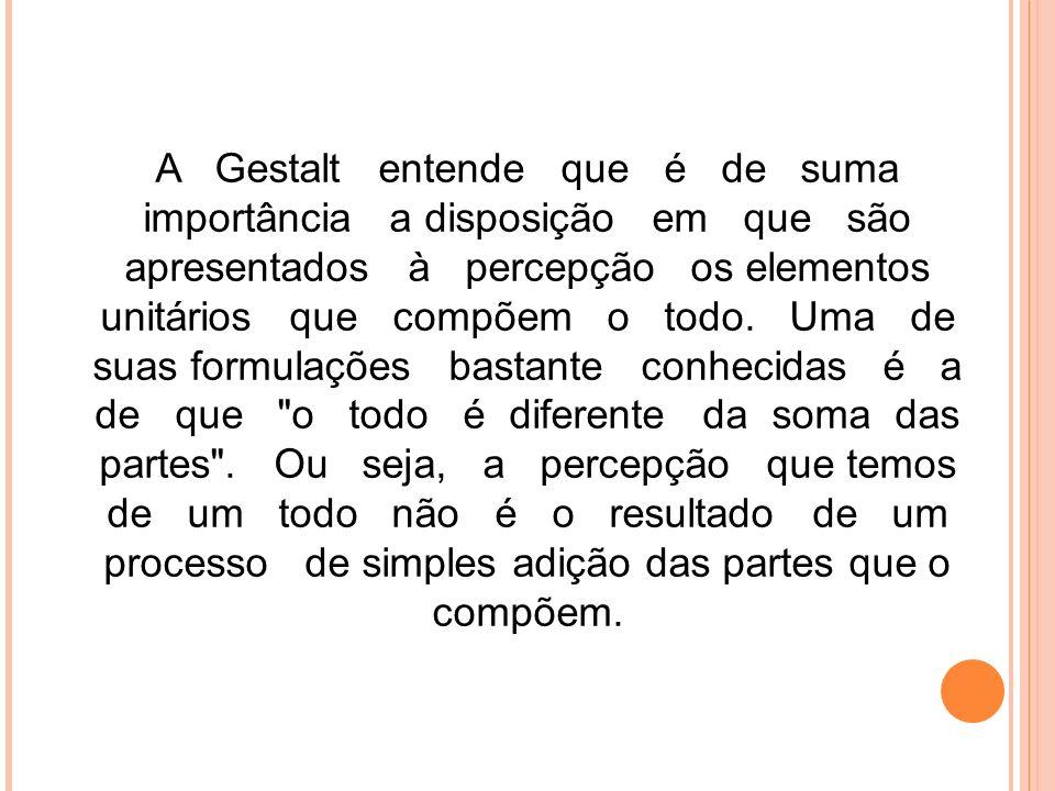A Gestalt entende que é de suma importância a disposição em que são apresentados à percepção os elementos unitários que compõem o todo. Uma de suas fo