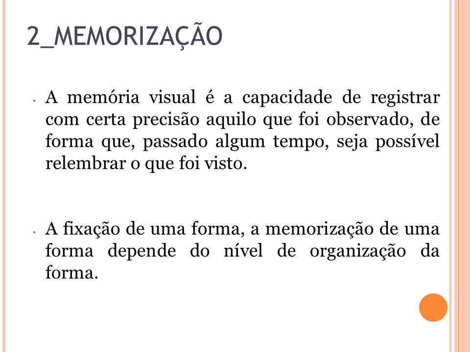 2_MEMORIZAÇÃO A memória visual é a capacidade de registrar com certa precisão aquilo que foi observado, de forma que, passado algum tempo, seja possív