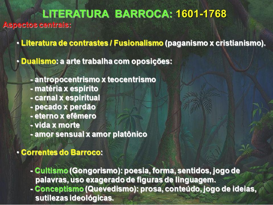 LITERATURA BARROCA: 1601-1768 Aspectos centrais: Literatura de contrastes / Fusionalismo (paganismo x cristianismo). Literatura de contrastes / Fusion