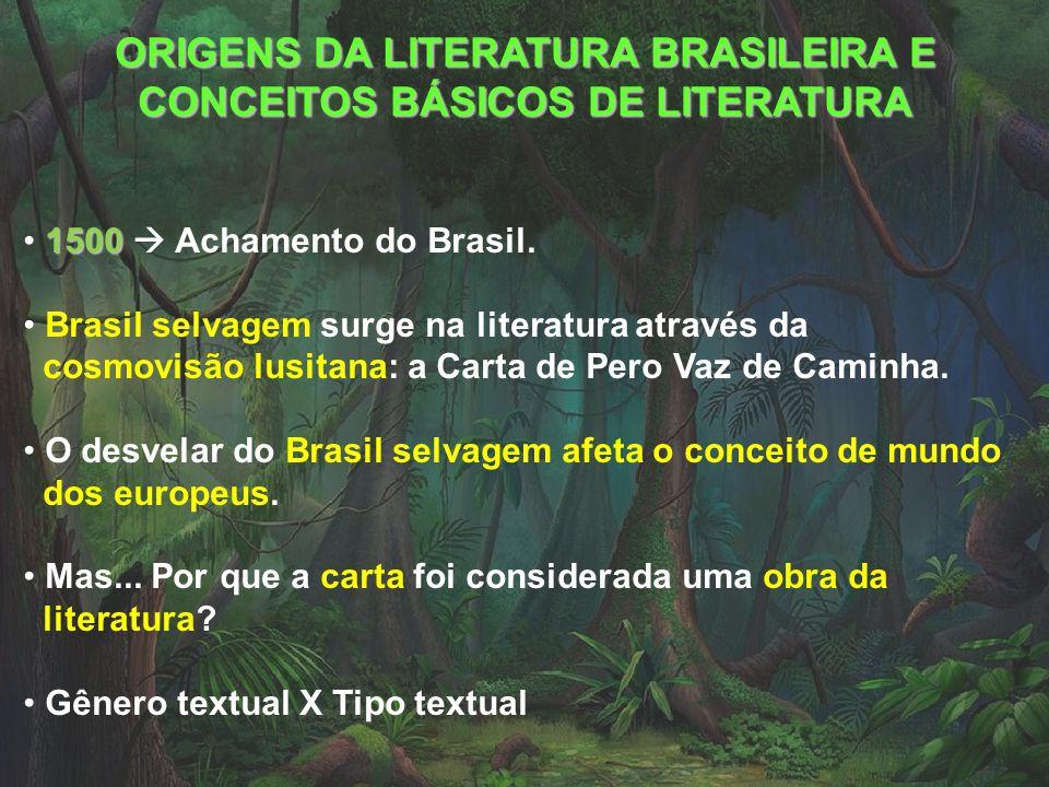 ORIGENS DA LITERATURA BRASILEIRA E CONCEITOS BÁSICOS DE LITERATURA 1500 1500 Achamento do Brasil. Brasil selvagem surge na literatura através da cosmo