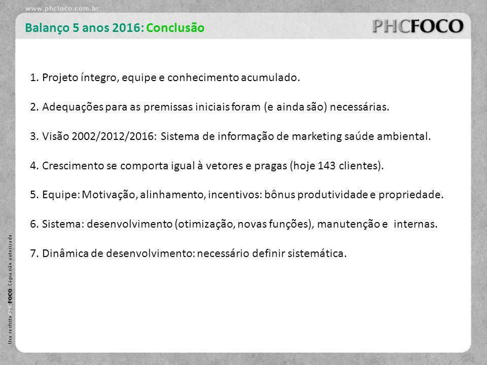 PHC FOCO Uso restrito PHC FOCO. Cópia não autorizada. Balanço 5 anos 2016: Conclusão 1. Projeto íntegro, equipe e conhecimento acumulado. 2. Adequaçõe