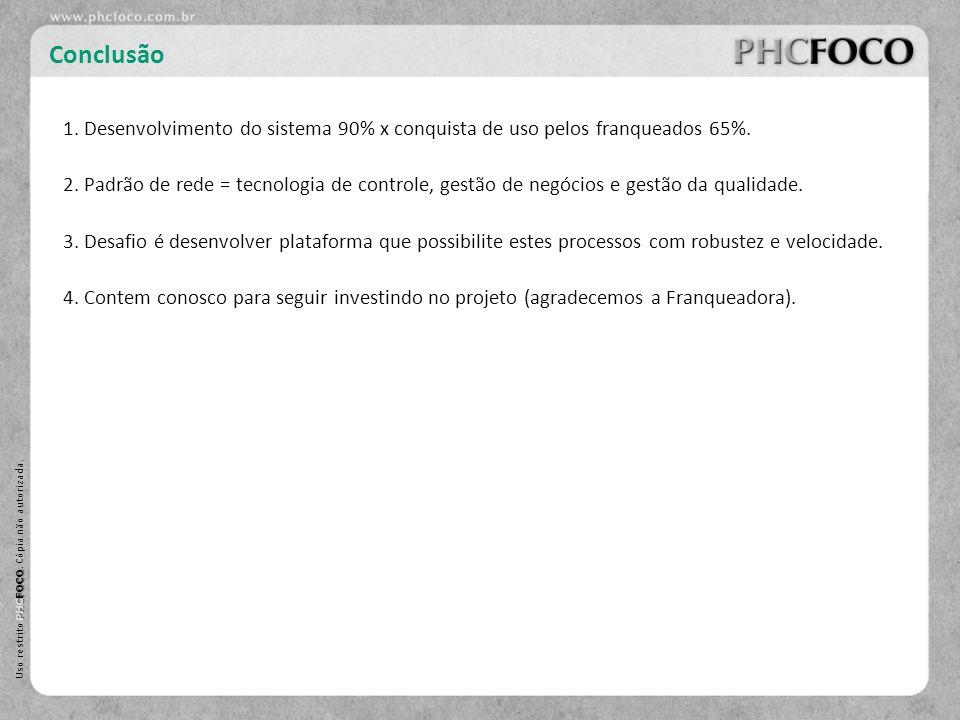 PHC FOCO Uso restrito PHC FOCO. Cópia não autorizada. Conclusão 2. Padrão de rede = tecnologia de controle, gestão de negócios e gestão da qualidade.