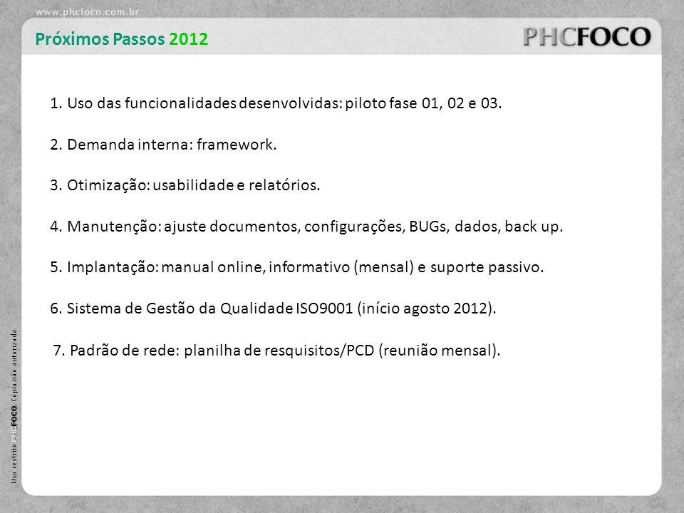 PHC FOCO Uso restrito PHC FOCO. Cópia não autorizada. Próximos Passos 2012 6. Sistema de Gestão da Qualidade ISO9001 (início agosto 2012). 2. Demanda