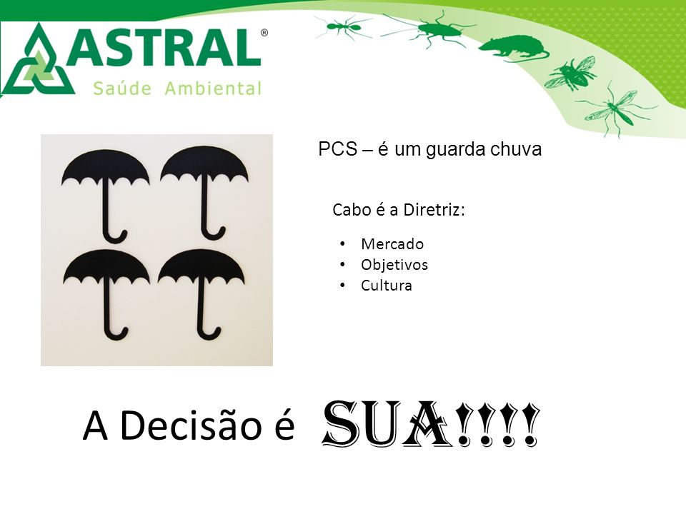 PCS – é um guarda chuva Cabo é a Diretriz: Mercado Objetivos Cultura A Decisão é SUA!!!!