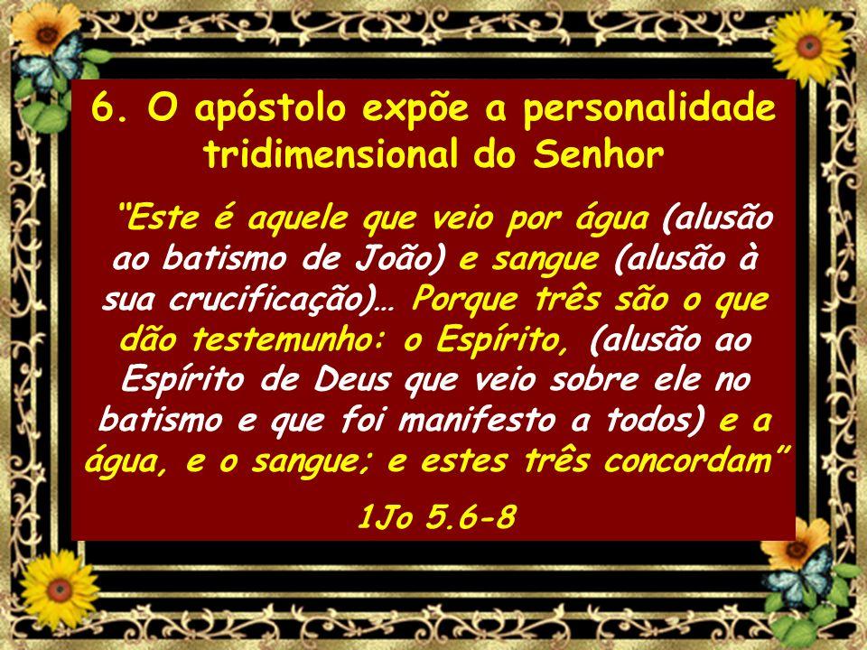 6. O apóstolo expõe a personalidade tridimensional do Senhor Este é aquele que veio por água (alusão ao batismo de João) e sangue (alusão à sua crucif