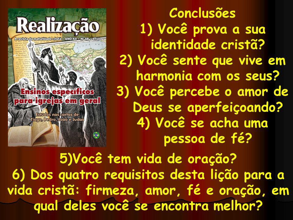 Conclusões 1) Você prova a sua identidade cristã? 2) Você sente que vive em harmonia com os seus? 3) Você percebe o amor de Deus se aperfeiçoando? 4)