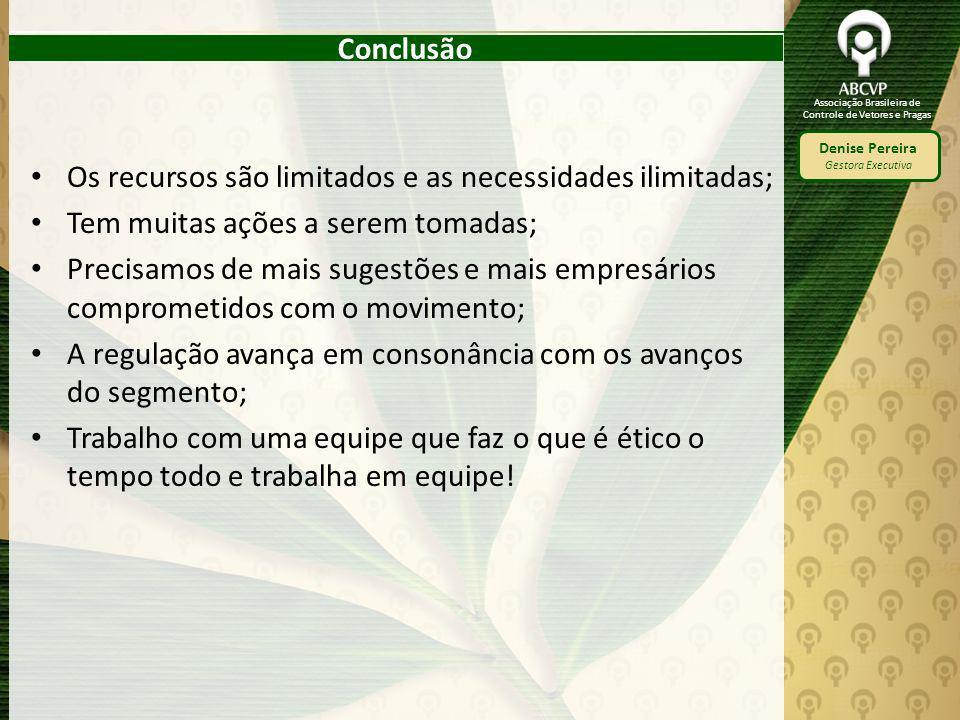 Associação Brasileira de Controle de Vetores e Pragas Denise Pereira Gestora Executiva Conclusão Os recursos são limitados e as necessidades ilimitada