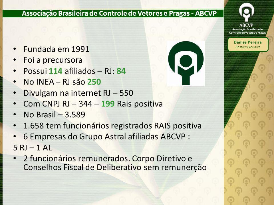 Associação Brasileira de Controle de Vetores e Pragas Denise Pereira Gestora Executiva Associação Brasileira de Controle de Vetores e Pragas - ABCVP F