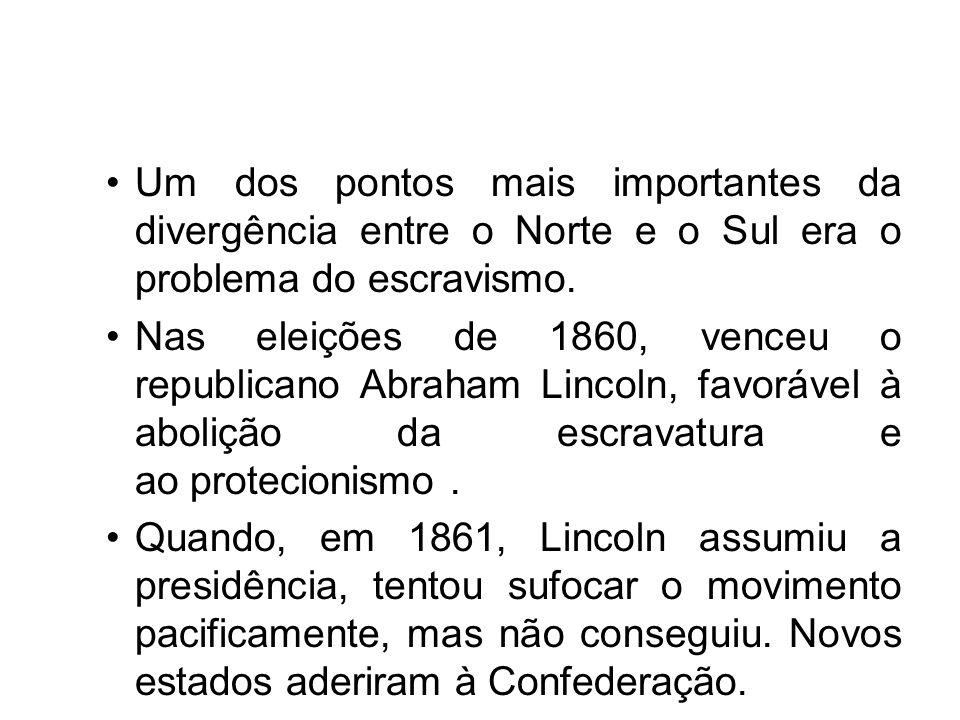 Um dos pontos mais importantes da divergência entre o Norte e o Sul era o problema do escravismo. Nas eleições de 1860, venceu o republicano Abraham L