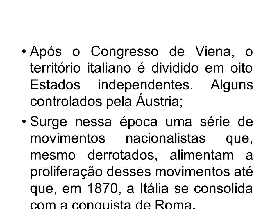 Após o Congresso de Viena, o território italiano é dividido em oito Estados independentes. Alguns controlados pela Áustria; Surge nessa época uma séri