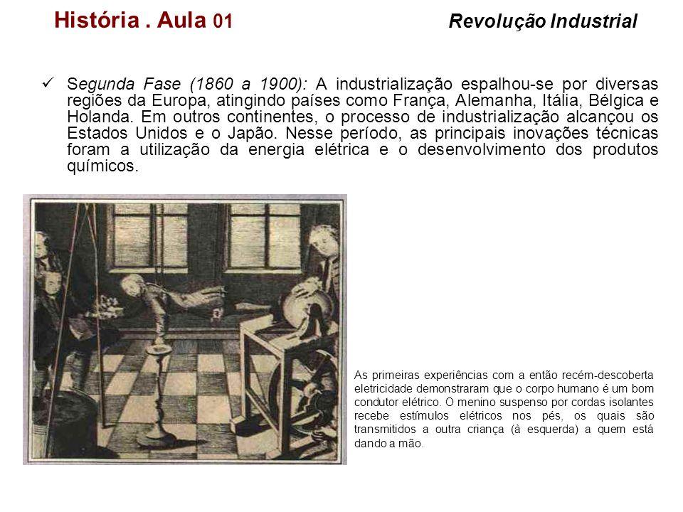 História. Aula 01 Revolução Industrial Segunda Fase (1860 a 1900): A industrialização espalhou-se por diversas regiões da Europa, atingindo países com