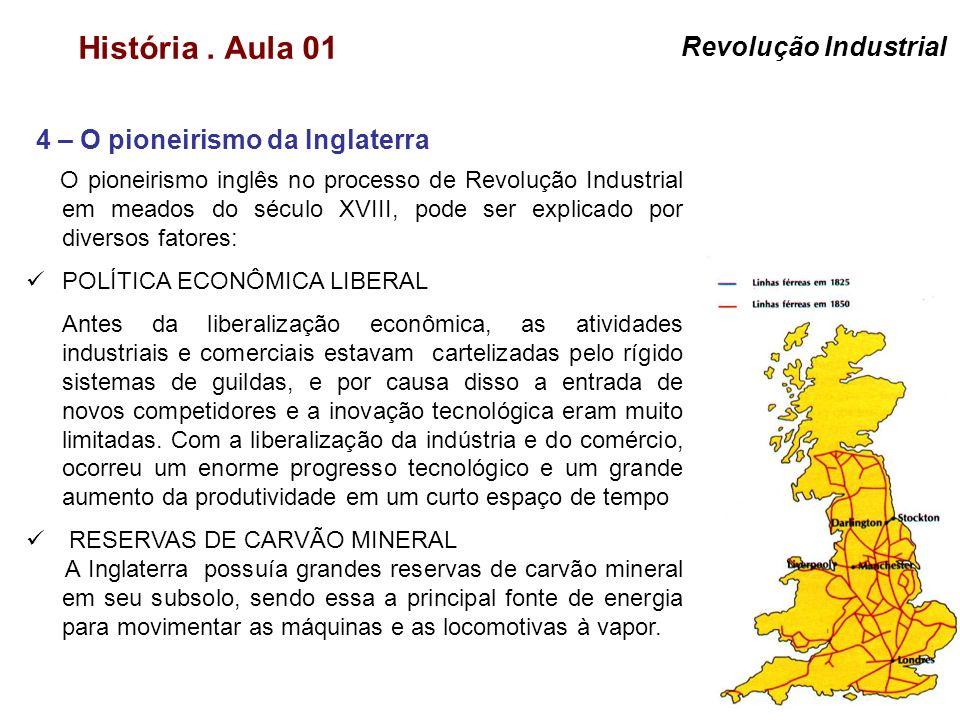 História. Aula 01 4 – O pioneirismo da Inglaterra Revolução Industrial O pioneirismo inglês no processo de Revolução Industrial em meados do século XV