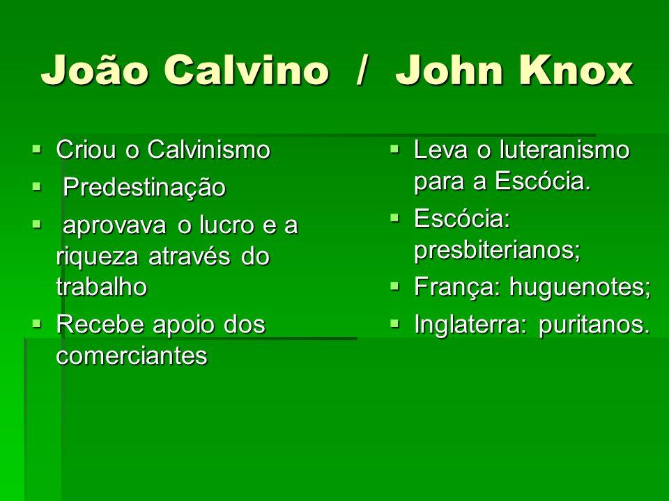João Calvino / John Knox Criou o Calvinismo Criou o Calvinismo Predestinação Predestinação aprovava o lucro e a riqueza através do trabalho aprovava o