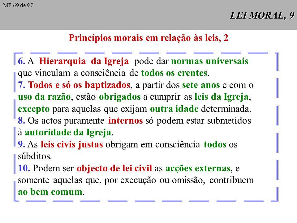 LEI MORAL, 8 Princípios morais em relação às leis, 1 1. Todos os homens estão submetidos desde o seu nascimento às exigências da lei natural. É object